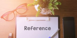 reference word written on notepad