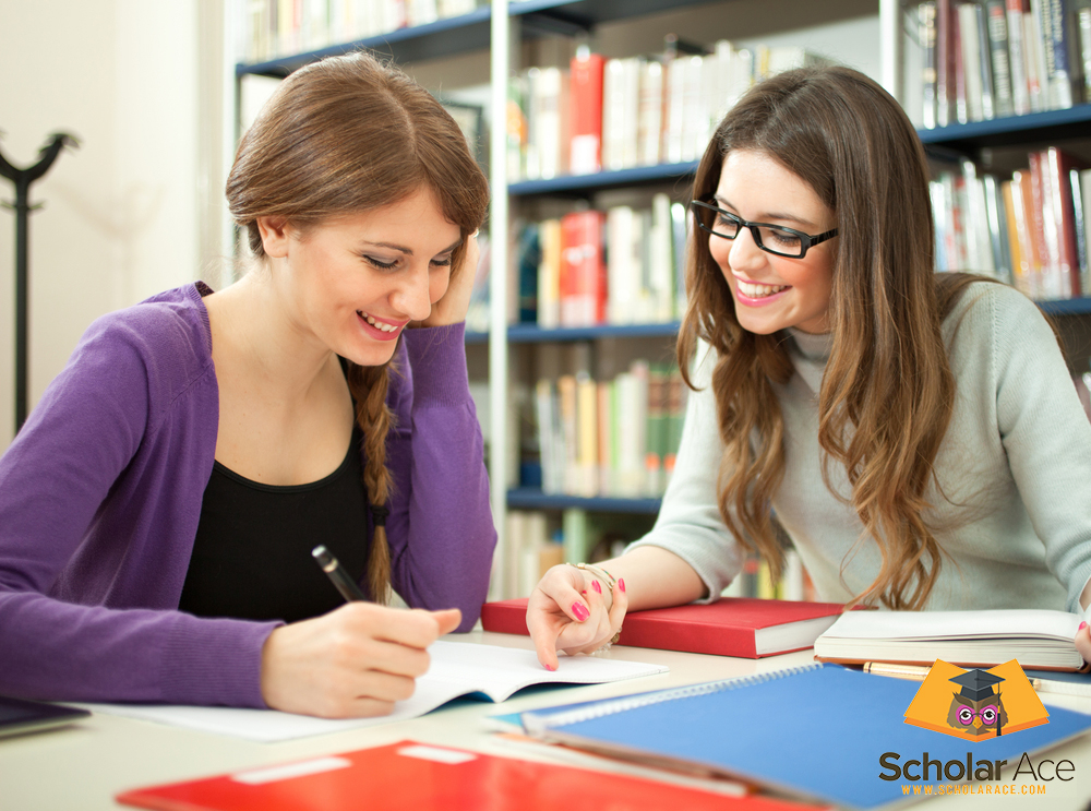 two cute girls talk about research paper