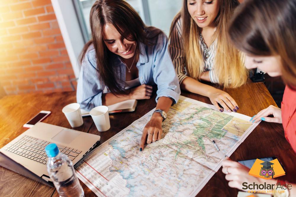 students discuss opportunity of internship abroad