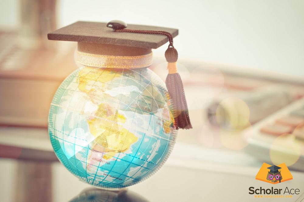 graduation hat over globe