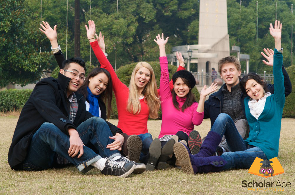 group of international students enjoying