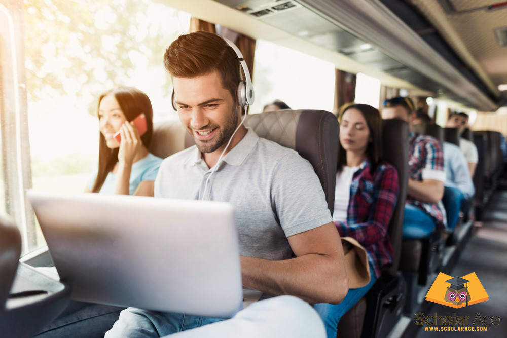 student travelling in train during paid internship